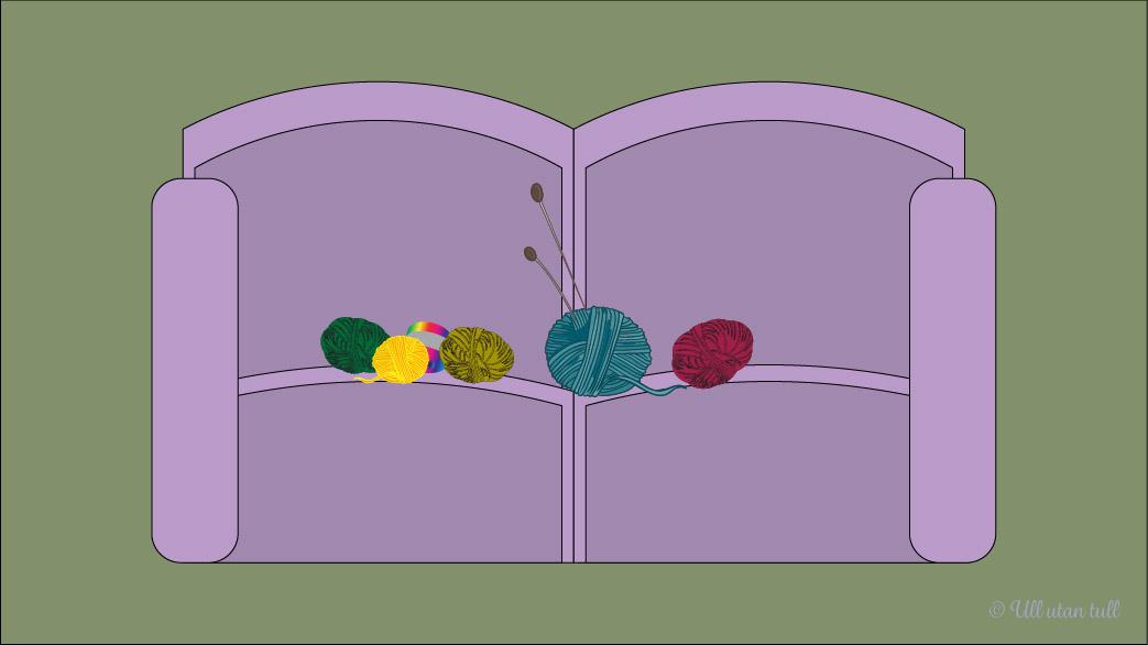 Illustrasjon av lilla sofa med garnnøster
