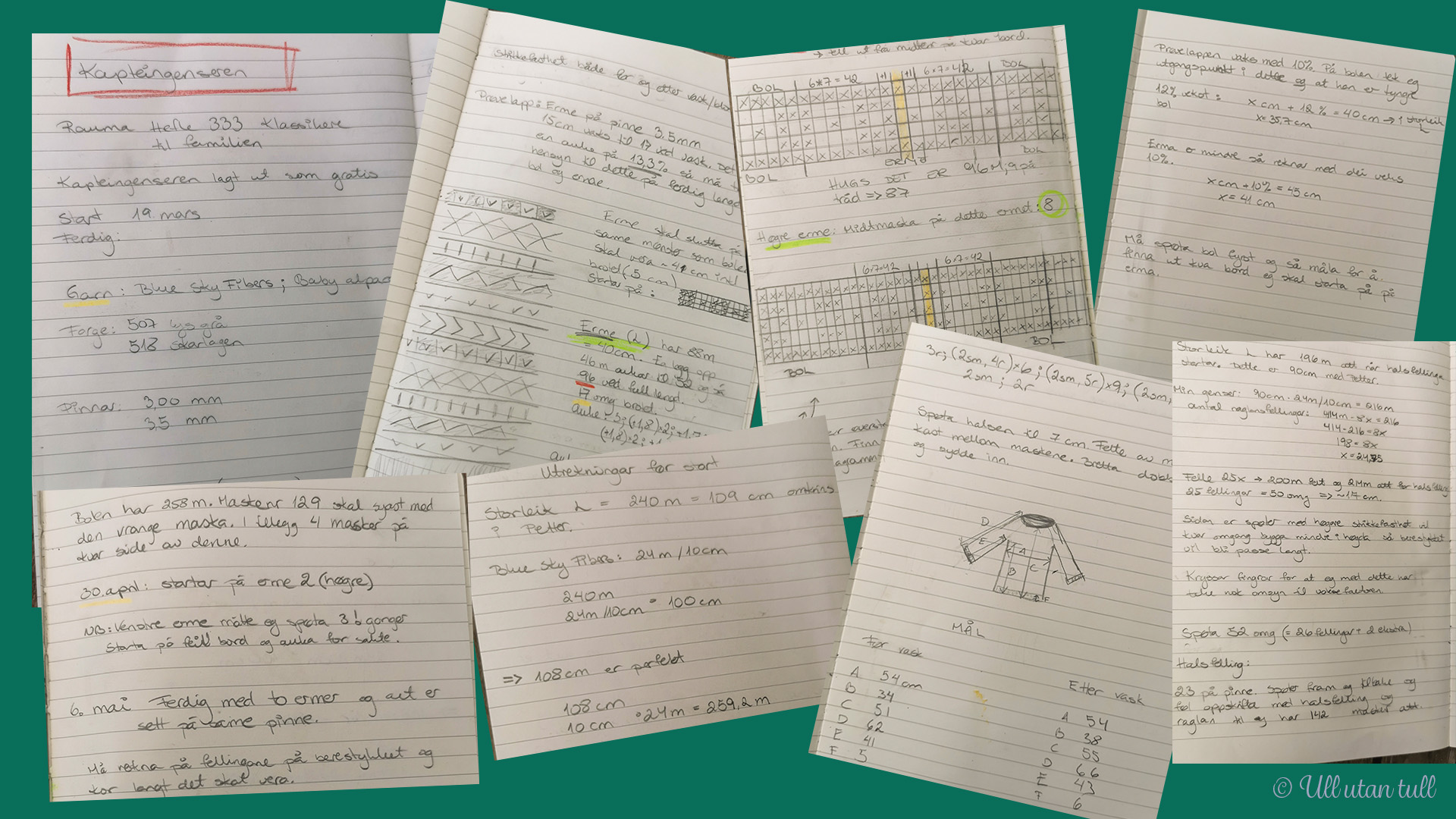 Samling av handskrivne notat